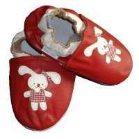 Chaussons cuir souple Lapin