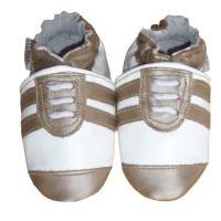 Chaussons cuir souple Basket beige