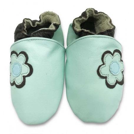 Chaussons cuir souple Fleur turquoise