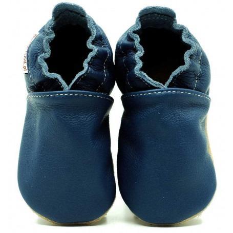 Chaussons cuir souple Bleu Marin