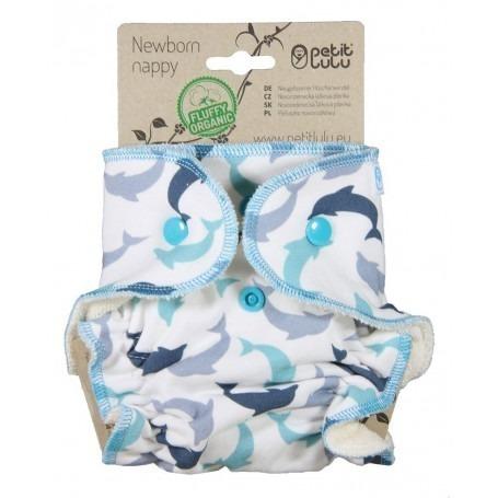 Couche lavable Nouveau Né à Velcros Dauphins - Petit Lulu