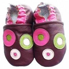 Chaussons bébé Ronds en cuir souple