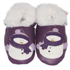 Chausson cuir bébé Fourrés Bonhomme de neige Violet