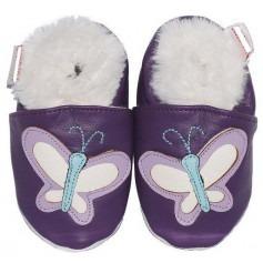 Chausson cuir bébé Fourrés Papillon Parme