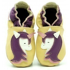 Chaussons cuir fille Licorne
