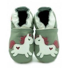 Chaussons cuir enfant Licorne sur gris