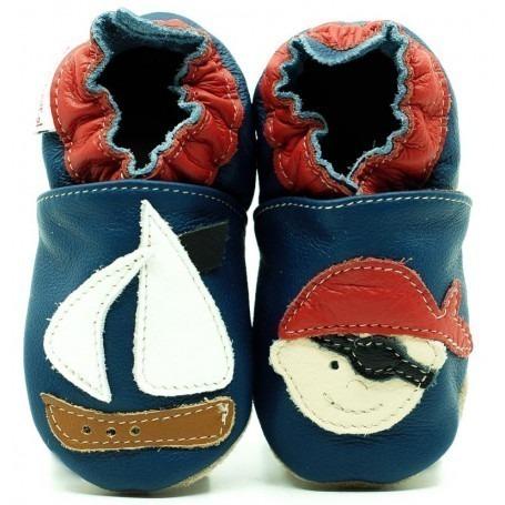 Chaussons cuir souple Pirate Bleu