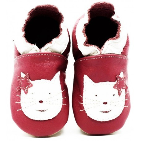 Chaussons cuir souple Chat Rose