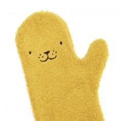 Gant de bain bébé jaune en coton bio