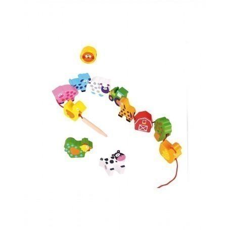 Perles en bois à lacer Ferme - Andreu Toys