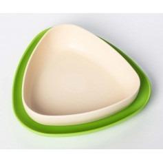 Set de deux assiettes bébé en bioplastique - Vert/Blanc - eKoala