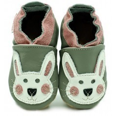 Chaussons cuir souple Lapin rose
