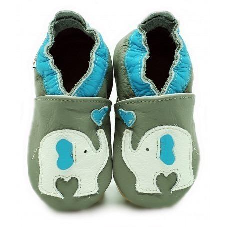 Chaussons cuir souple Elephant bleu