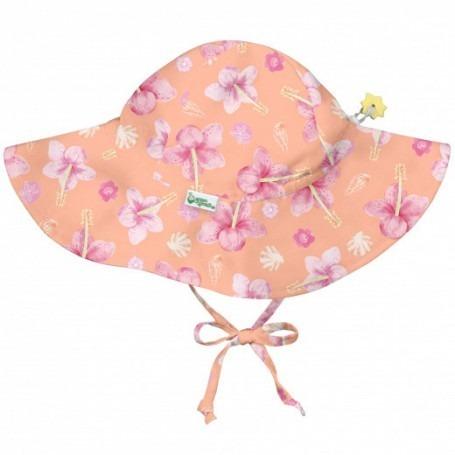 Chapeau bébé anti UV à large bord Hibiscus