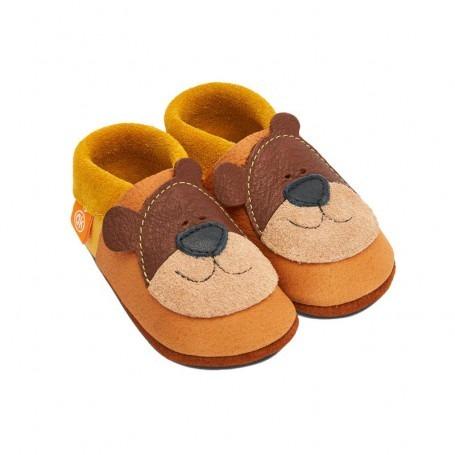 Chausson cuir bébé Ours de miel - Pololo