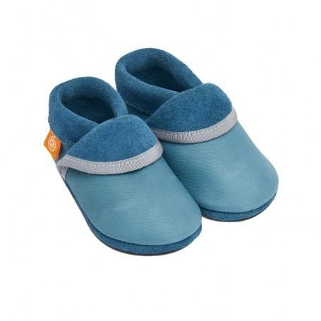 Chausson cuir bébé Bleu - Pololo
