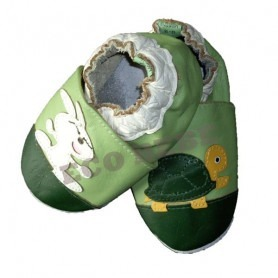 Chaussons cuir souple lapin / tortue