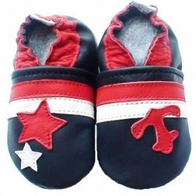 Chaussons cuir souple Marin