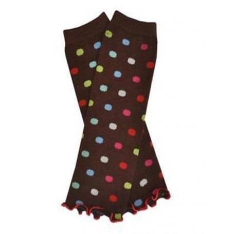 Babylegs chocolat / pois multicolores