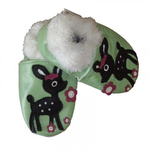 Chaussons cuir souple Fourrés Bambi