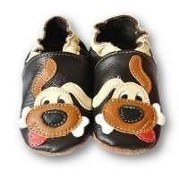 Chaussons cuir souple Brown dog