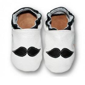 Chaussons cuir souple Moustache
