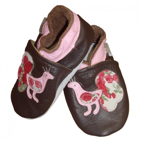 Chaussons cuir souple Paon