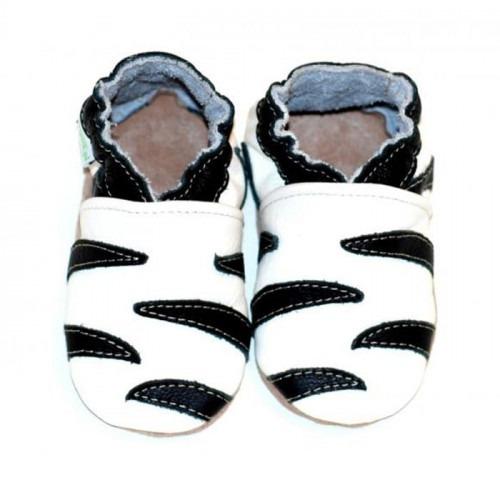 Chaussons cuir souple Zebre