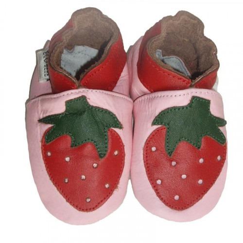 Chaussons cuir souple fraises
