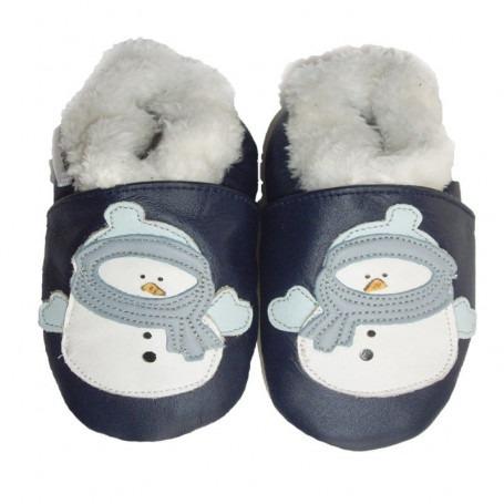 Chaussons cuir souple Fourrés Bonhomme de neige