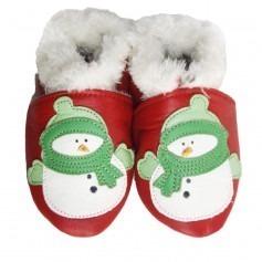 Chaussons cuir souple Fourrés Bonhomme de neige Rouge