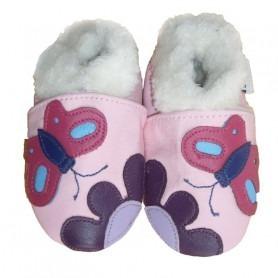 photos officielles 902d2 4f598 chausson en cuir souple bébé fourré - chaussons bébé hiver ...