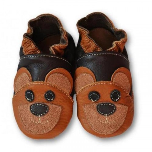 Chaussons cuir souple Bear