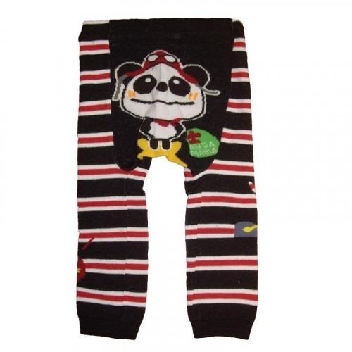 Leggin Panda rayé noir et rouge