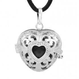 Bola noir cage argent forme coeur