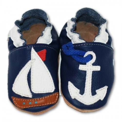 Chaussons cuir souple petit bateau