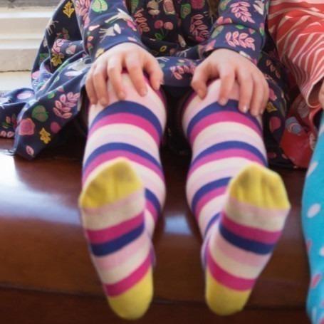 Collant Piccalilly coton bio Pink Stripe