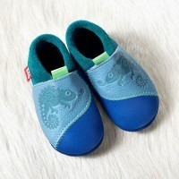 Chausson cuir pololo chameleon blue