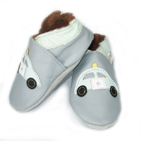 Chaussons cuir souple police