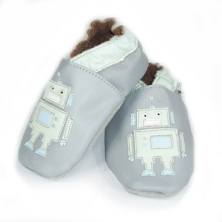 Chaussons cuir souple robot