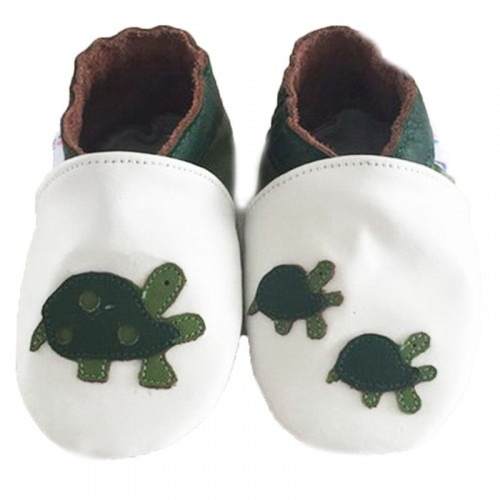 Chaussons cuir souple tortue