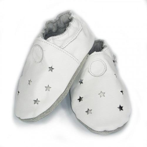 Chaussons cuir souple tête dans les étoiles