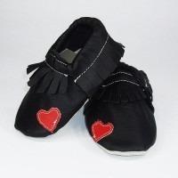 Chaussons cuir souple Moc noir