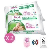 Lot de 2 paquets de lingettes Love and green