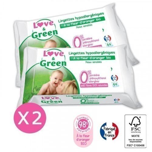 Lot de 2 paquets de lingettes Love and green