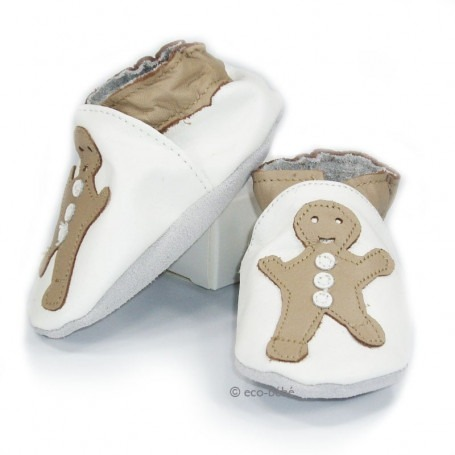 Chaussons cuir souple Biscuit