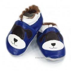 Chaussons cuir souple Bleu chien