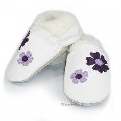 Chaussons cuir souple Fourrés fleurs