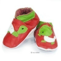 Chaussons cuir souple Tortue / poussin