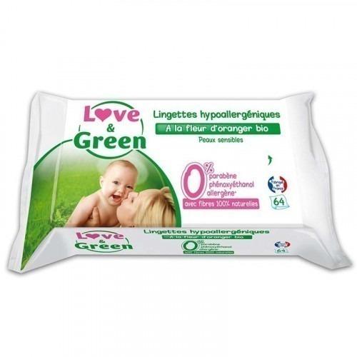 Paquet de 64 lingettes Love and green